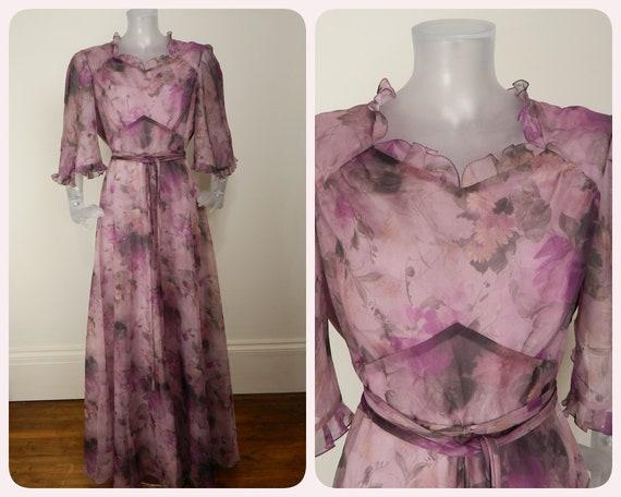 VINTAGE 1970s Maxi Dress/Wine Red Floral Dress /UK