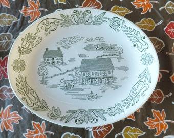 Rare Royal China Wayne County Dutch 11 in Serving Platter Green Farm Scene