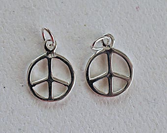 Peace Sign Charm, Sterling Silver Charm, 925 Sterling Silver, 14x10mm, DreamJewelrySupplies, 2 Pieces