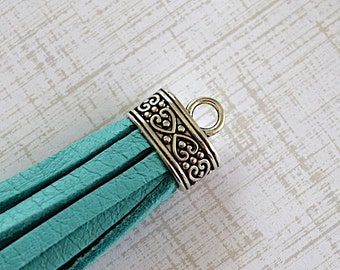 Blue Turquoise Leather Deerskin Tassel With Antiqued Silver Flat Oval Tassel Cap -90 mm- Pendant Handmade Supply - 1 Piece
