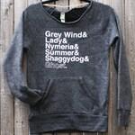 Direwolf Names Sweatshirt -- Game of Thrones inspired eco fleece ladies sweatshirt