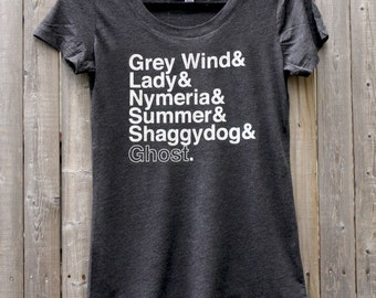 Game of Thrones Direwolves Names // Women's Scoop Neck Tee Shirt (Black)