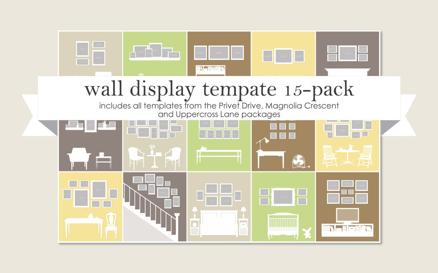 Wall Display Template 15-Pack | Etsy