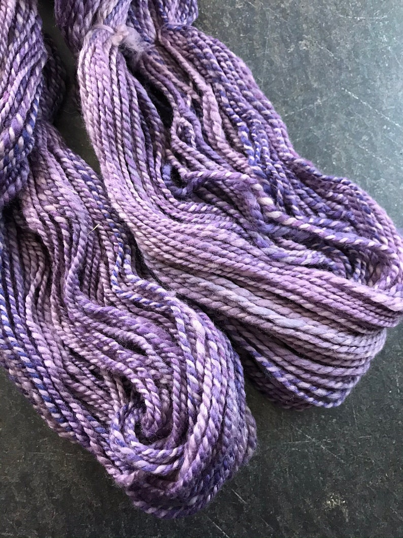 Handspun Two Ply BFL and Silk Fairy Purple Colorway 1974