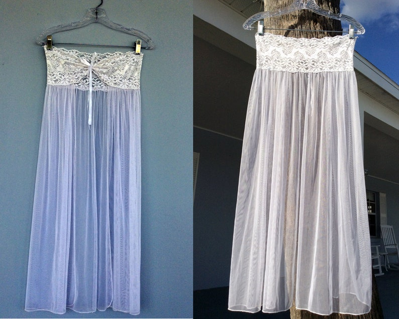 8d7bbb8bae28e Strapless Flowing Nightgown Doubles as Skirt   White Flowing