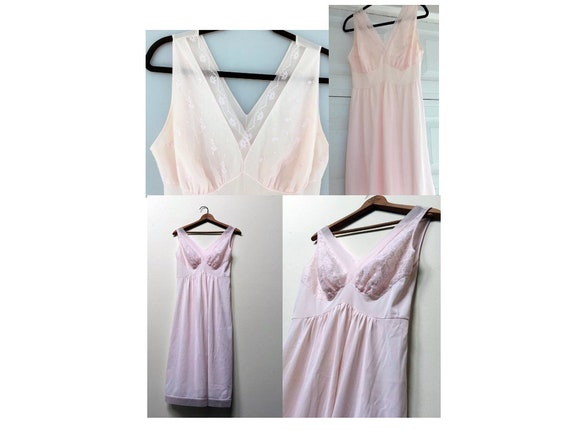 TWO Vintage Pink Nightgowns / Empire Waist Nightgo