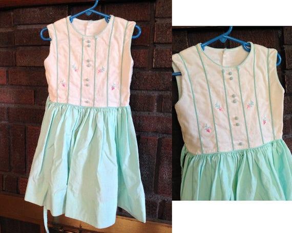 Vintage Child 1940s Dress / Little Girls Vintage D