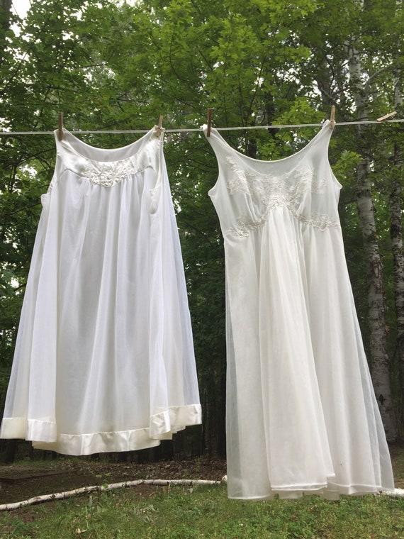 2 Vintage White Babydoll Nightgowns / Carol Brent