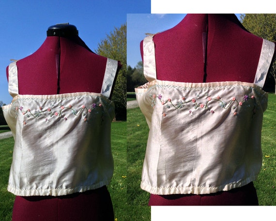 1900s Silk Wrap Blouse Embroidered / Early Century