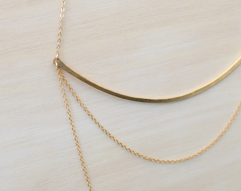 Gold Bar Necklace Layering Necklace Long Layered Necklace Gold Layered Necklace Simple Layered Necklace