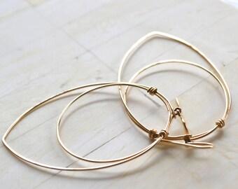 Large Hoop Earrings Gold Filled Hoop Earrings Long Gold Earrings Large Hoop Earrings Simple Hoops Travel Earrings