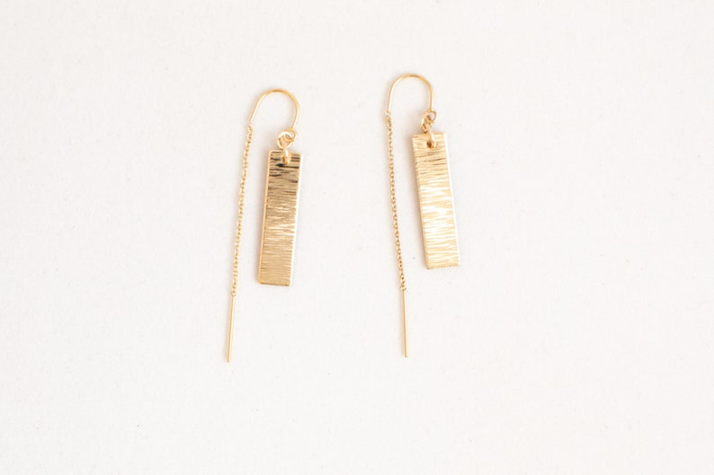 Gold Threader Earrings Dainty Gold Filled Threader Earrings image 0