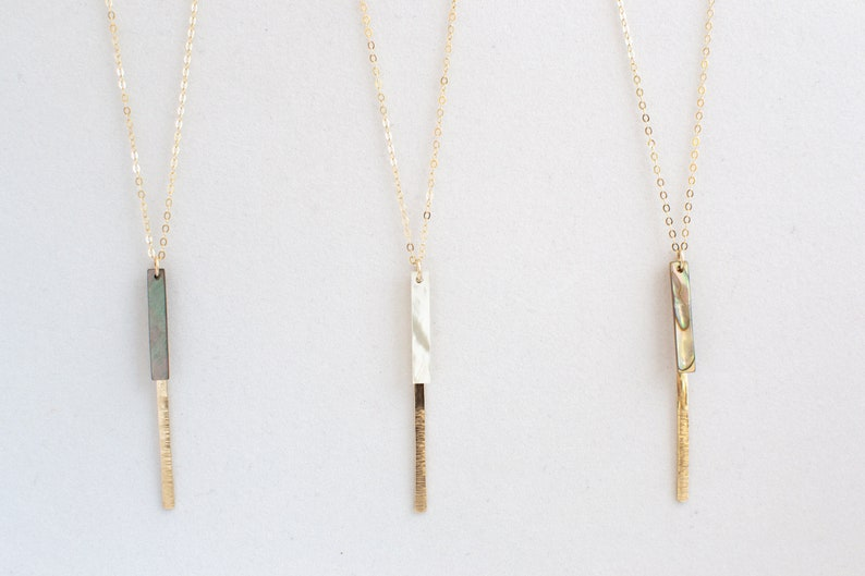 Abalone Shell Necklace Long Dainty Shell Necklace  Long image 0