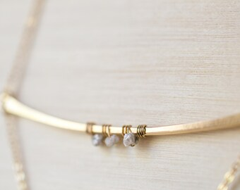 Raw Diamond Necklace, 14k Gold Filled, Lariat Necklace, Minimal Necklace, Gift for Her Gold Filled Lariat Necklace Long Raw Diamond Necklace