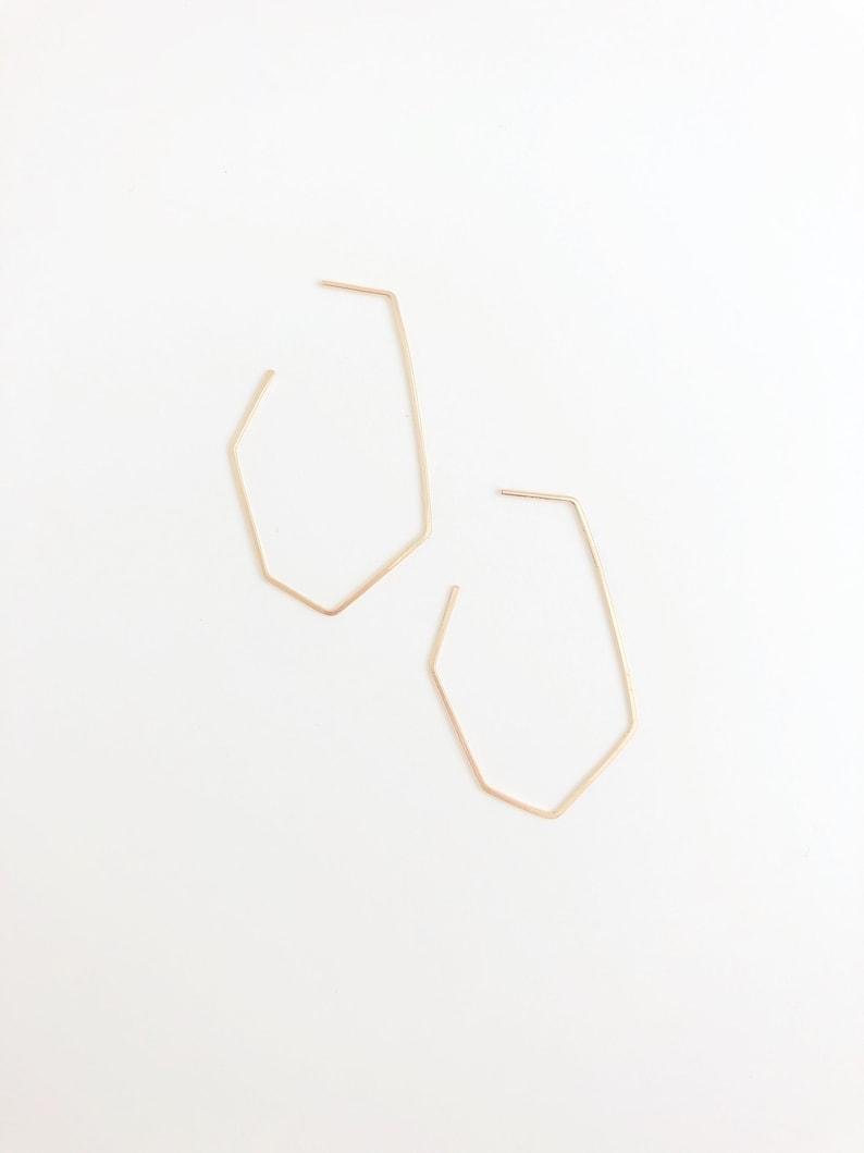 Hexagon Hoop Earrings Geometric Hoop Earrings Gold Filled 14kt gold fill