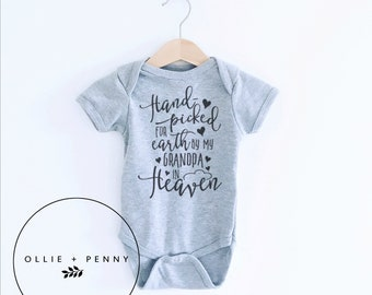31b4d034f Hand Picked By My Grandpa in Heaven onesie® / coming home outfit, sibling  shirts, family photos, pregnancy announcement, gender reveal