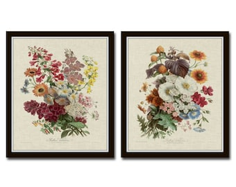 French Flower Bouquet Painting Art Print in Blue Colorway  Botanical Art  French Art  Vintage Botanical  Flower Painting  Flower Art