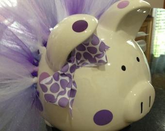 Polka Dot Tutu Piggy Bank-Large- Light purple, dark purple and white-Baby Gift