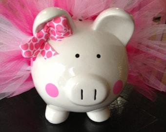 Polka Dot Tutu Piggy Bank-Large- Light Pink, Dark Pink and White-Baby Gift
