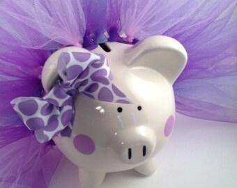 Polka Dot Tutu Piggy Bank-Piglet- Light purple, dark purple and white-Baby Gift