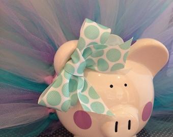Polka Dot Tutu Piggy Bank-Piglet- light purple, lavender and aqua-Baby Gift