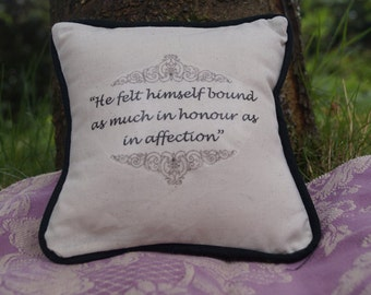STOCK CLEARANCE! Miniature Jane Austen Inspired Pillow. Northanger Abbey Quote. Cotton Decorative Pillow