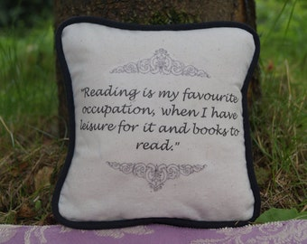 STOCK CLEARANCE! Miniature Anne Brontë Inspired Pillow. Agnes Grey Quote. Cotton Decorative Pillow