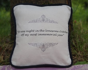 STOCK CLEARANCE! Miniature Edgar Allan Poe Inspired Pillow. Ulalume Quote. Cotton Decorative Pillow