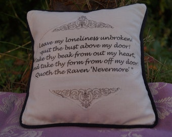 STOCK CLEARANCE! Miniature Edgar Allan Poe Inspired Pillow. The Raven Quote. Cotton Decorative Pillow