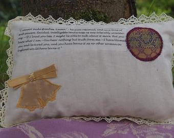 STOCK CLEARANCE! Emma Quote Jane Austen Mini Pillow Cushion. Mr Knightley