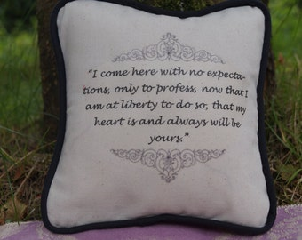 STOCK CLEARANCE! Miniature Jane Austen Inspired Pillow. Sense and Sensibility Quote. Cotton Decorative Pillow