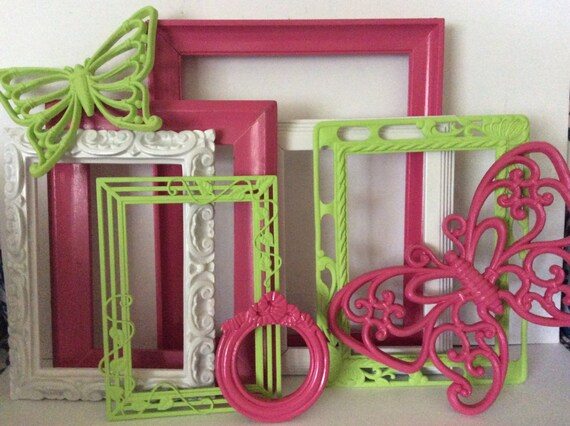 Hot Pink Green Picture Frames Set Butterflies Bright Colorful