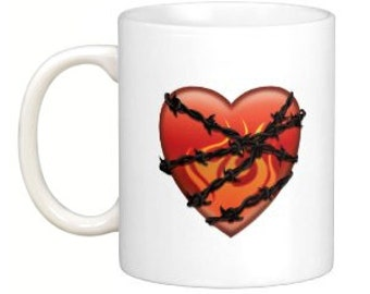 Heart with barbed wire mug