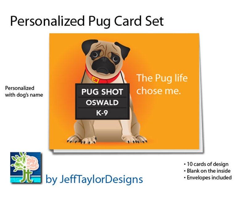 10 notecards Pug notecards