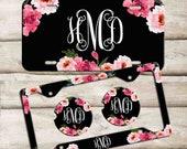 Personalized Car Tag, Custom Monogram License Plate, Custom Car Coaster, Floral Car Decoration, Cute Car Accessories