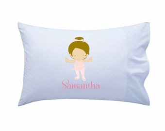 Kids Personalized Pillowcase, Ballerina Pillowcase, Standard Personalized Pillowcase, Personalized Gift, Girls Gift, Birthday Present