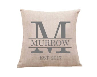 Monogrammed Custom Pillow Case, Throw Pillow Cover, Decorative Pillow Case, Personalized Pillow Case, Housewarming gift