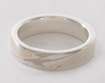 Mokume Gane Band Tricolor, Narrow: 14kt Palladium White Gold, 14kt Rose/Red Gold & Sterling Silver Mokume Gane with a Sterling Silver Liner