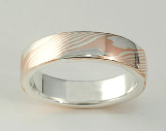 Red Gold Mokume Ring, Woodgrain metal, Unique Wedding Bands, Mokume Gane Wedding Ring, Rose Gold Mokume Gane, Wedding Band