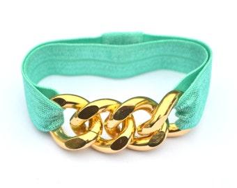 Gold Chunky Chain Teal Elastic Bracelet Hair tie Combo