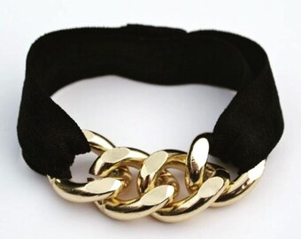 Gold Chunky Chain Black Elastic Hair Tie Bracelet Combo Stretch Elastic - Gold Curb Chain Arm Candy - Hair Accessories