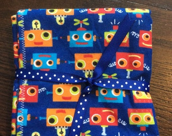 Blue Robot Faces Baby Burp Cloths