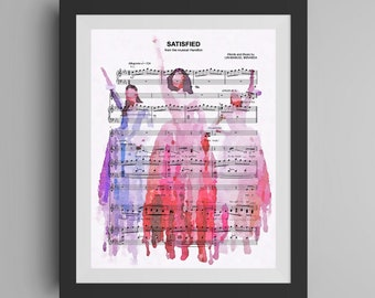 Hamilton Musical Watercolor Painting, Schuyler Sisters Art Print, Satisfied Sheet Music, Broadway Play Poster, Unique Gift Idea, USA History