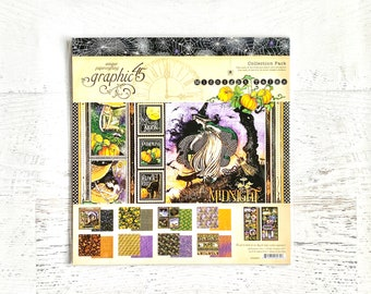 Graphic 45 Midnight Tales Collection-12X12 collection pack, 2 sheets each-8 designs, double-sided, scrapbooking, paper crafting, card making
