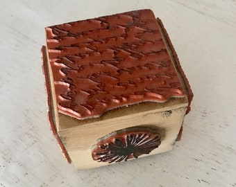 Stamping Block, 6 stamps in 1, gently used, flower, butterfly, script, stripes, punchanella, and damask, ~4.5 inch wood block, papercrafting
