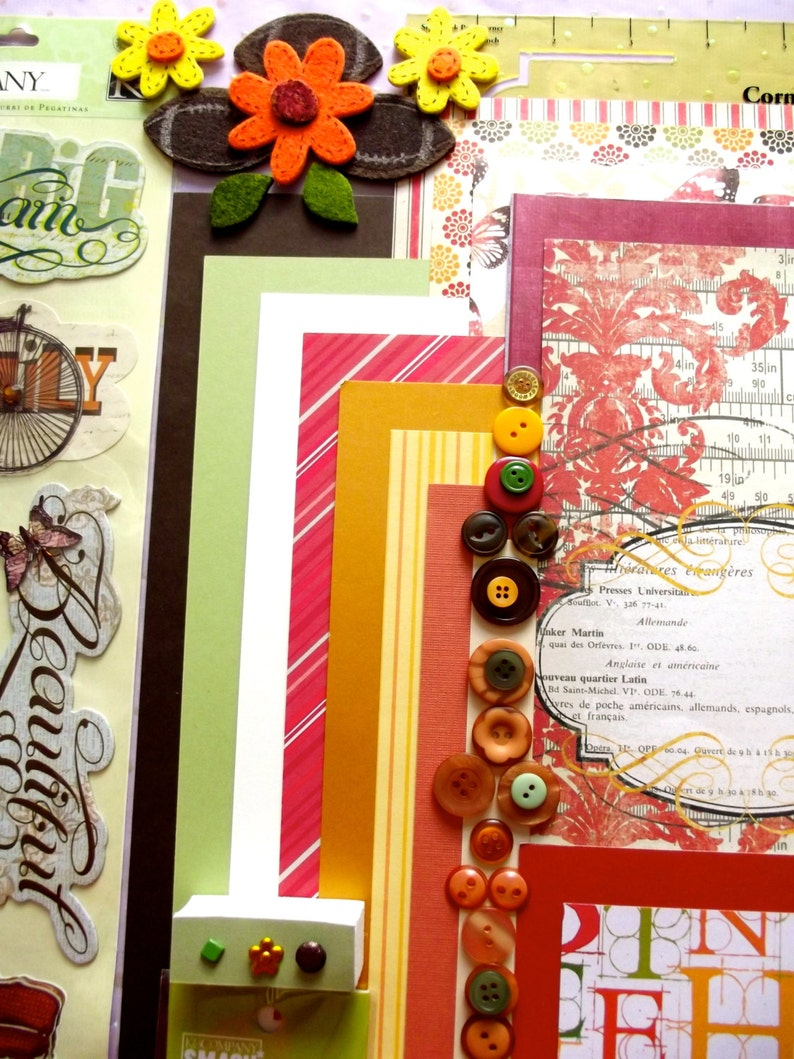 felt My Mind/'s Eye paper Smash over 140 pcs. orange K/&Co stickers yellow green Scrapbooking Kit Thanksgiving Fall brown holiday