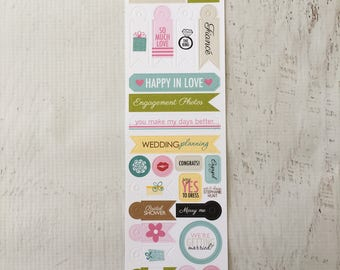 Bella Blvd. sticker sheets, Miniatures, Engaged At Last by Stephanie Hunt, for scrapbooking, paper crafting, card making, planning, etc