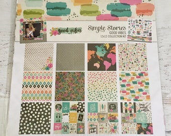 Simple Stories Bloom or Good Vibes Collection Kit for Scrapbooking, Cardmaking, Art Journaling, planners, pocket pages, pocket letters