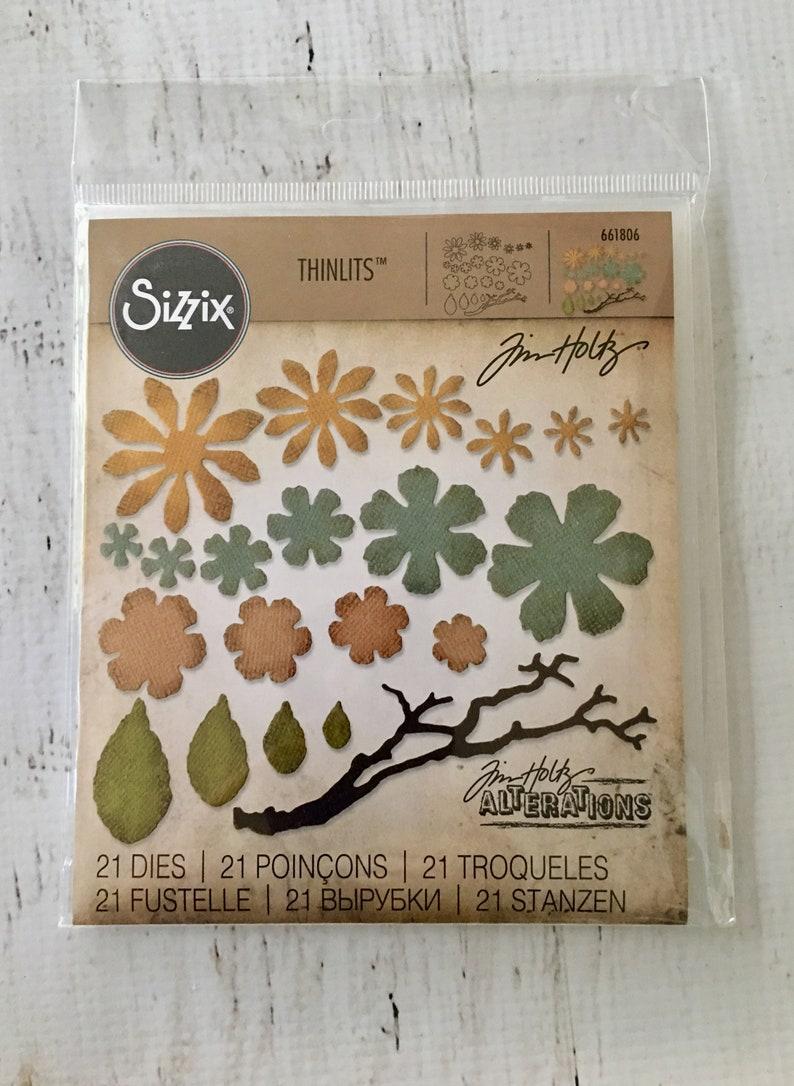 Tim Holtz, Small Tattered Flowers thinlits Sizzix Dies, 21 dies/pkg,  foliage, card making, scrapbooking, mixed media, art journaling, 661806