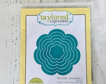 Taylored Expressions Bloomin' Stacklets 1, set of 6 custom craft dies, scrapbooking, cardmaking, planners, art journaling, mixed media